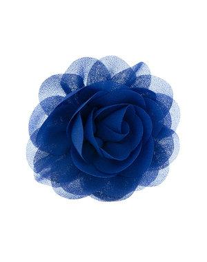 Goudhaartje Haarbloem roos blauw op alligator knipje