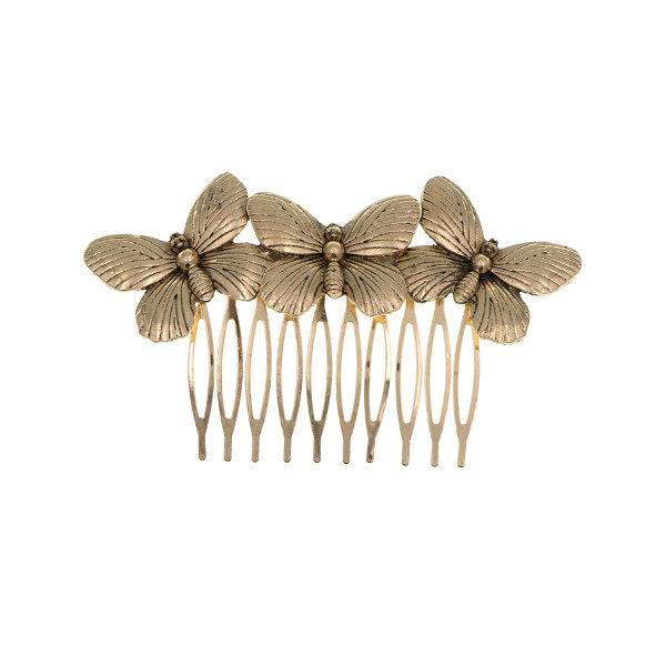 Goudhaartje Haarkam goudkleurig vlinders