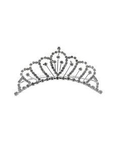 Goudhaartje Tiara zilverkleurig mini met haarkam kroon