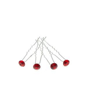 Goudhaartje Haarpinnen met facetsteen in de kleur rood 4 stuks