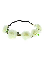 Goudhaartje Haarband rozen gevlochten wit