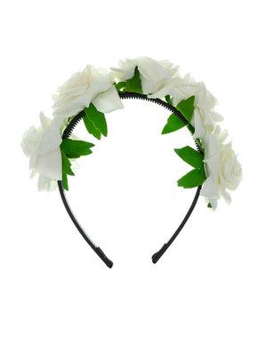 Goudhaartje Diadeem met witte rozen