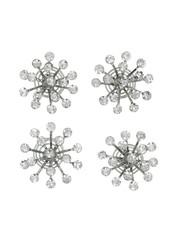 Goudhaartje Curlies kristal bloem zilverkleurig 4 stuks