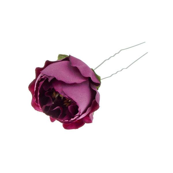 Goudhaartje Haarpin roos met bladeren in de kleur paars