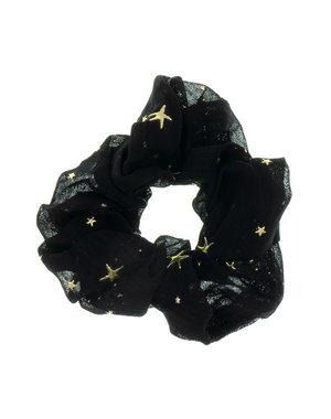 Goudhaartje Scrunchie zwart goudkleurige sterren