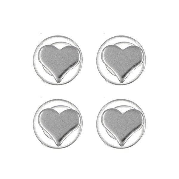 Goudhaartje Curlies hartje zilverkleurig 4 stuks