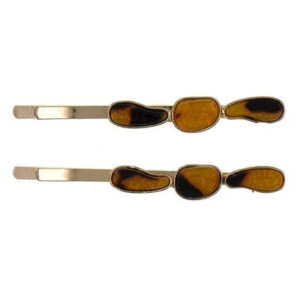 Goudhaartje Haarschuifjes drie stenen bruin/zwart
