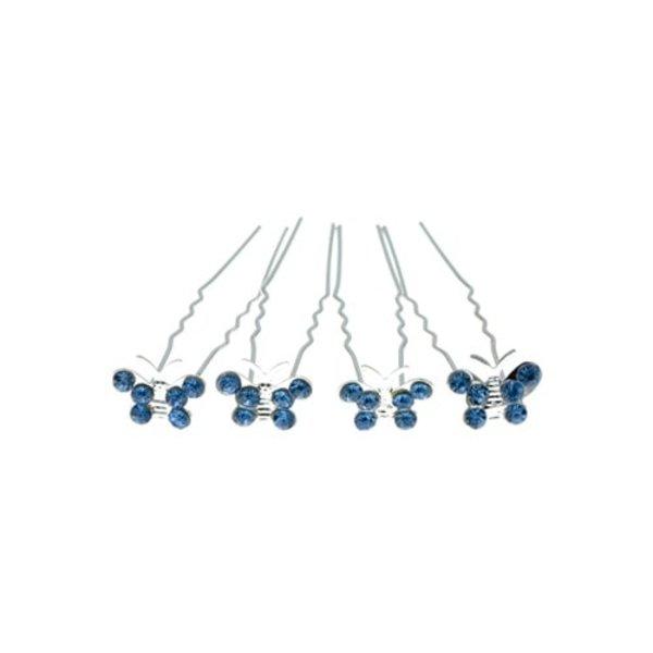 Goudhaartje Haarpinnen zilverkleurig vlinder blauw 4 stuks