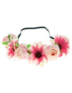 Goudhaartje Haarband gevlochten verschillende bloemen roze