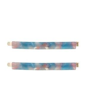 Goudhaartje Haarschuifjes marmer blauw roze