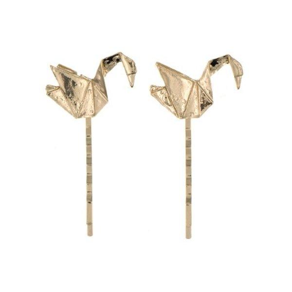 Goudhaartje Haarschuifjes vogel origami goudkleurig