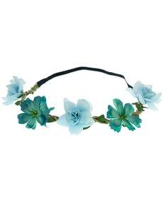 Goudhaartje Haarband gevlochten bloemen mix blauw/groen