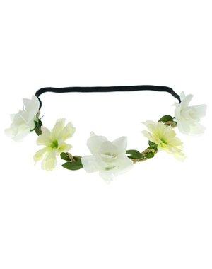 Goudhaartje Haarband gevlochten bloemen mix crème/wit