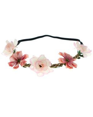 Goudhaartje Haarband gevlochten bloemen mix roze