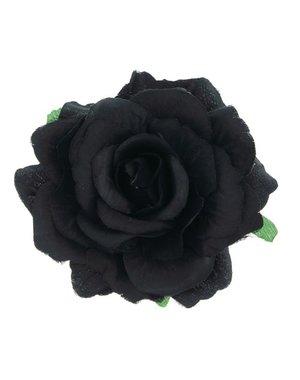 Goudhaartje Haarbloem roos L zwart op alligator knipje