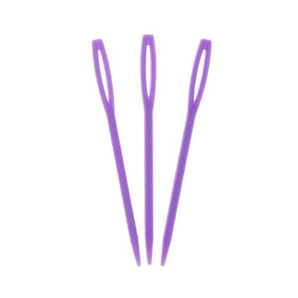 Goudhaartje Plastic stopnaalden 3 stuks paars