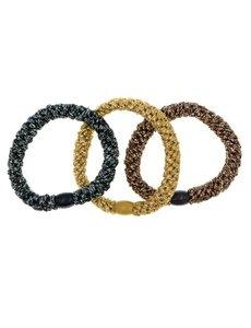 Goudhaartje Haarelastiek goudkleurig, bruinkleurig, zwart 3 stuks