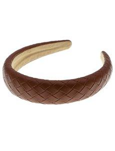 Goudhaartje Diadeem gevlochten leather look bruin