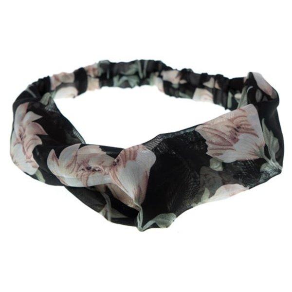 Goudhaartje Haarband zwart roze bloesem