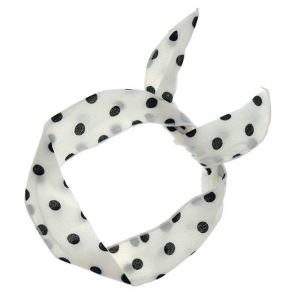 Goudhaartje Haarband sjaal retro polkadot wit zwart
