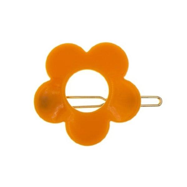 Goudhaartje Haarclip flower power oranje