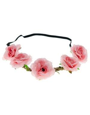 Goudhaartje Haarband rozen gevlochten roze