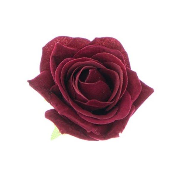 Goudhaartje Haarbloem fluwelen roos rood op alligator knipje