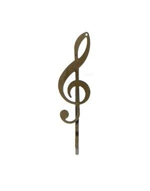Goudhaartje Haarschuifje muzieksleutel bronskleurig