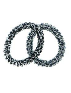 Goudhaartje Kabel haarelastiek zilverkleurig zwarte stip