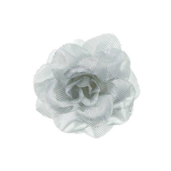 Goudhaartje Haarbloem roosje zilverkleurig S op alligator knipje
