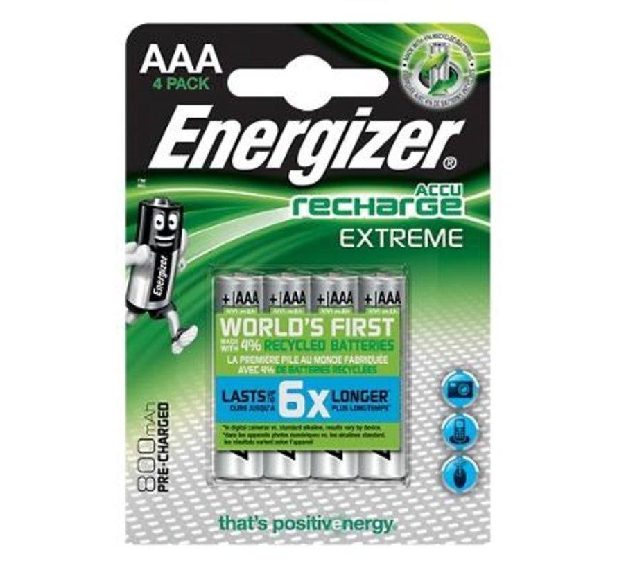 Energizer NIMH EXTREME AAA  800 mAh oplaadbaar