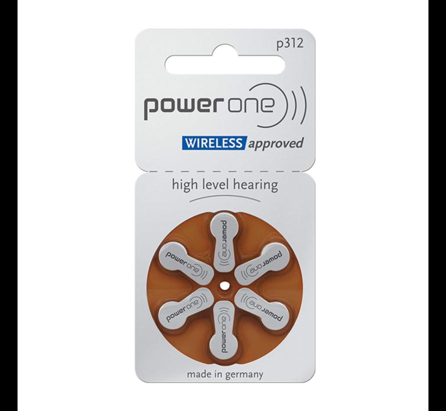 PowerOne 312 (PR41) braun Hörgerätebatterie