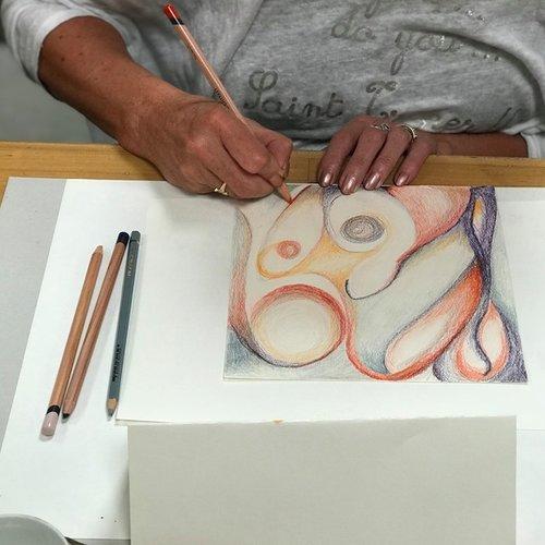 Intuitief tekenen/schilderen 'ont-moeting in kleur'