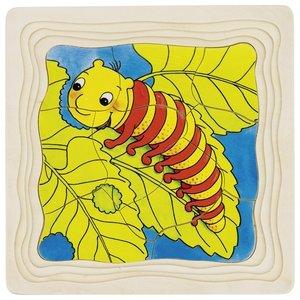 Goki 4 lagen puzzel - Rups-vlinder