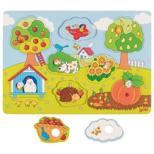 Goki Achtergrondpuzzel - In de tuin