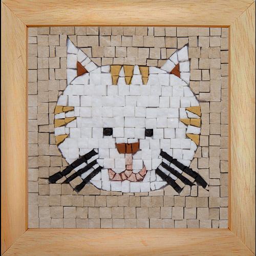 Neptune Mosaic Mosaicbox - Mozaïek met lijst Kat 17 cm