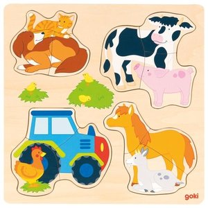 Goki Inlegpuzzel 12-delig - Boerderijdieren