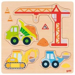Goki Inlegpuzzel 12-delig - Bouwvoertuigen