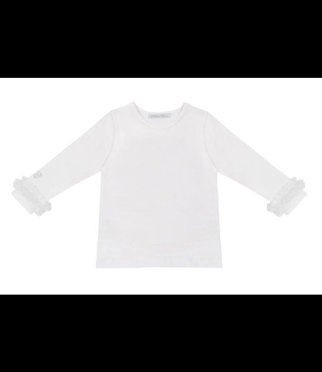 BALLOON CHIC Longsleeve - Wit met prachtige afwering aan de mouwen