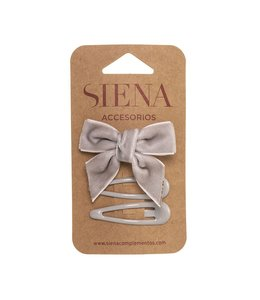 SIENA Set - Velvet strik met 2 speldjes lichtgrijs
