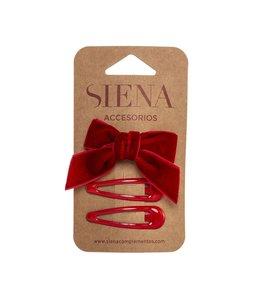 SIENA Set - Velvet strik met 2 speldjes rood