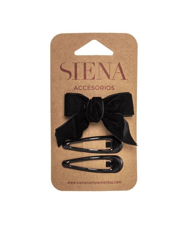SIENA Set - Velvet strik met 2 speldjes zwart