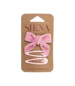 SIENA Set - Velvet strik met 2 speldjes lichtroze
