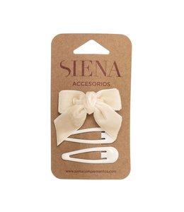 SIENA Set - Velvet strik met 2 speldjes creme