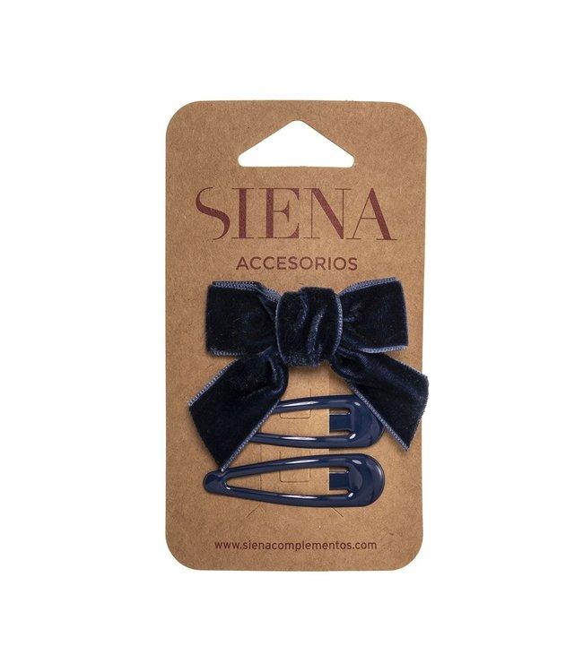 SIENA Set - Velvet strik met 2 speldjes donkerblauw