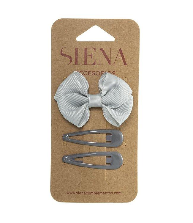 SIENA Set -  Strik met 2 speldjes lichtgrijs