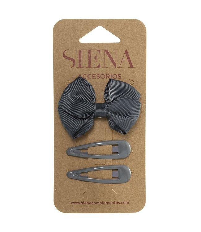 SIENA Set -  Strik met 2 speldjes grijs