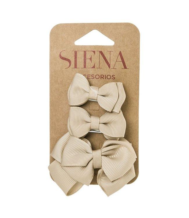 SIENA Set - 1 grote strik en 2 kleine strikjes beige