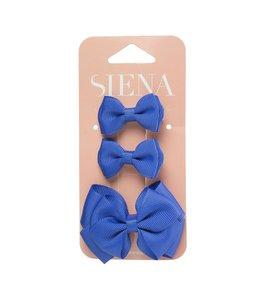 SIENA Set - 1 grote strik en 2 kleine strikjes blauw