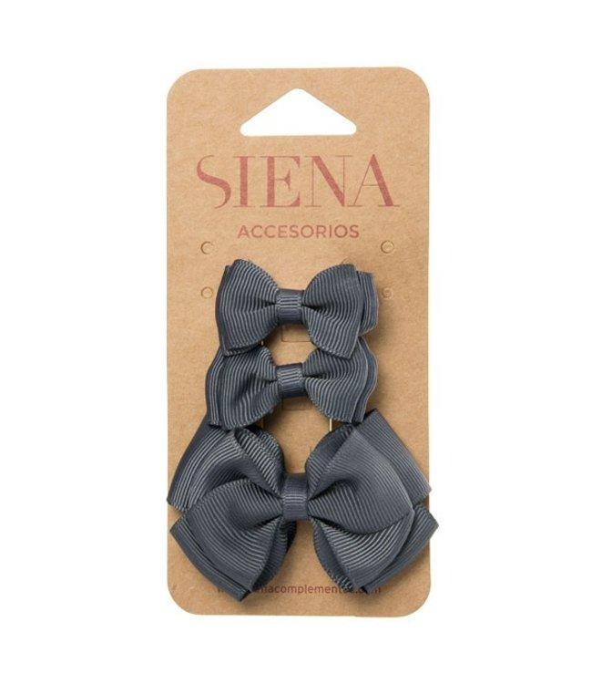 SIENA Set - 1 grote strik en 2 kleine strikjes grijs
